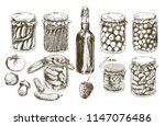 jars with pickled vegetables... | Shutterstock .eps vector #1147076486