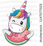 cute cartoon unicorn with... | Shutterstock .eps vector #1147077023