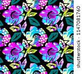 seamless summer tropical... | Shutterstock .eps vector #1147081760