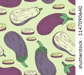 seamless pattern with eggplant  ... | Shutterstock .eps vector #1147090640