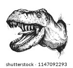 sketch of a dinosaur head with... | Shutterstock .eps vector #1147092293