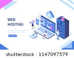 web hosting concept with... | Shutterstock .eps vector #1147097579