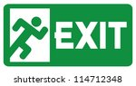 green exit emergency sign with... | Shutterstock .eps vector #114712348