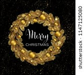 Christmas Wreath Gold Pine...