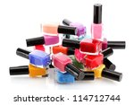 group of bright nail polishes... | Shutterstock . vector #114712744