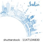 outline india city skyline with ... | Shutterstock .eps vector #1147134830