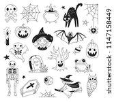 halloween doodle collection.... | Shutterstock .eps vector #1147158449