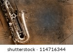 Retro Sax With Old Yellowed...