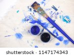 blue objects for creativity lie ... | Shutterstock . vector #1147174343