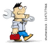 cartoon funny foreman going to...   Shutterstock .eps vector #1147177466