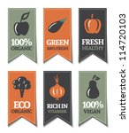organic labels with vegetables | Shutterstock .eps vector #114720103