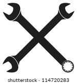 crossed wrenches  spanner  | Shutterstock .eps vector #114720283