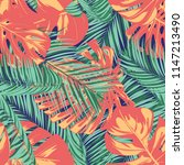 summer exotic floral tropical... | Shutterstock .eps vector #1147213490