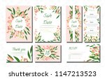 wedding card templates set with ... | Shutterstock .eps vector #1147213523