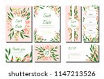 wedding card templates set with ... | Shutterstock .eps vector #1147213526
