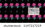 mexican embroidery roses and... | Shutterstock .eps vector #1147217219