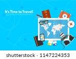 traveler's accessories.... | Shutterstock .eps vector #1147224353
