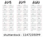 calendar template collection... | Shutterstock . vector #1147235099