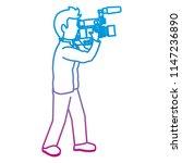degraded line cute cameraman... | Shutterstock .eps vector #1147236890