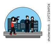 color cameraman camcorder film... | Shutterstock .eps vector #1147236926