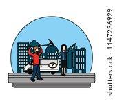 color journalist van and... | Shutterstock .eps vector #1147236929