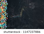 blackboard with colorful chalk... | Shutterstock . vector #1147237886