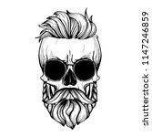 angry skull with hairstyle ... | Shutterstock .eps vector #1147246859