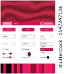 light red vector design ui kit...