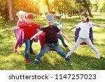 group kids friends  superhero... | Shutterstock . vector #1147257023