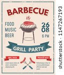 barbeque retro poster with... | Shutterstock .eps vector #1147267193