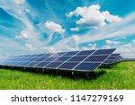 solar panel on blue sky... | Shutterstock . vector #1147279169