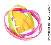 RSS of wifi signal glossy orange emblem icon inside the multiple colorful ring torus hoops isolated on white background - stock photo