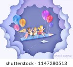 back to school 1 september card.... | Shutterstock .eps vector #1147280513