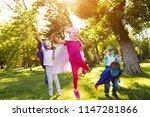 group kids friends  superhero... | Shutterstock . vector #1147281866