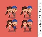 group of couples kawaii... | Shutterstock .eps vector #1147297340