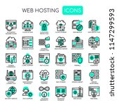 web hosting   thin line and... | Shutterstock .eps vector #1147299593