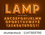 neon light 3d alphabet  extra... | Shutterstock .eps vector #1147303700