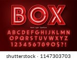 neon light 3d alphabet  extra... | Shutterstock .eps vector #1147303703