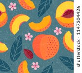 Peaches Seamless Pattern. Whol...