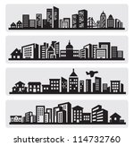 vector black cities silhouette... | Shutterstock .eps vector #114732760
