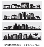 Stock vector vector black cities silhouette icon set on gray 114732763