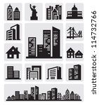 vector black cities silhouette... | Shutterstock .eps vector #114732766