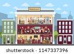 restaurant building indoors... | Shutterstock . vector #1147337396