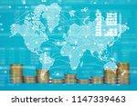 double exposure of coin stack... | Shutterstock . vector #1147339463