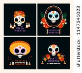 set of cards for dia de los...   Shutterstock .eps vector #1147341023