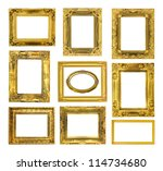 the antique gold frame on the... | Shutterstock . vector #114734680