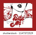 bite me. vector hand drawn... | Shutterstock .eps vector #1147372529