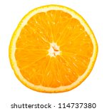 Slice Of Ripe Orange Isolated...