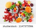 vegan yogurt chia seeds  on... | Shutterstock . vector #1147375586