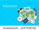 traveler's accessories.... | Shutterstock .eps vector #1147378736